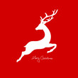 Xmas Card Jumping Reindeer Red
