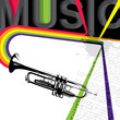 Designed music banner with trumpet