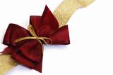 fiocco per pacchi regali porpora e oro poster