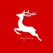 Xmas Card Flying Reindeer Red