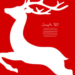 Xmas Card Flying Reindeer Cropped Red