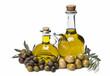 Aceites de oliva y diferentes aceitunas.