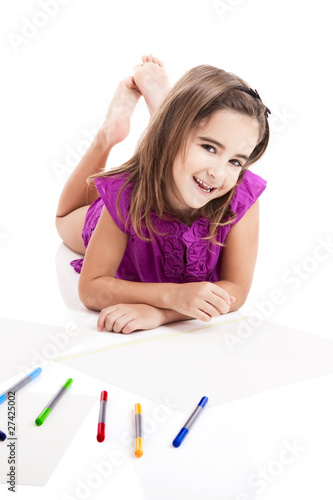 Girl making drawings