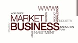 Business intelligence market tag cloud red text animation poster