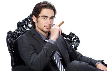 homme caucasien beauté - fauteuil baroque