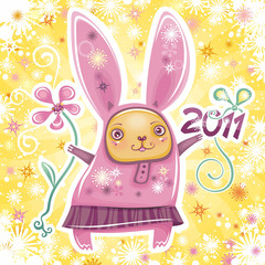 Vector card with cute little rabbit
