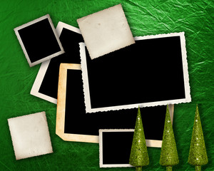 Green metallic background with frames.
