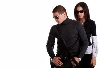 Serious couple with arms