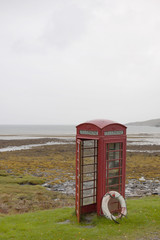 Telephone box and lifebelt on Rum