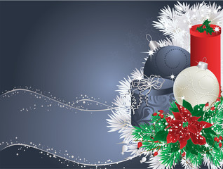 Blue christmas background with bauble, gifts and poinsettia.