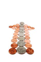usd coin money arrow isolated on white