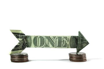 usd one way money arrow on coins