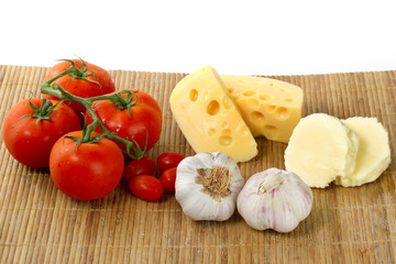 Cheese tomatoes and garlic