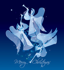 Christmas Angels on a blue background. Classical figures from a