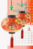 Chinese prosperity lanterns and calendar poster