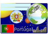 Portugal business card national emblem globe