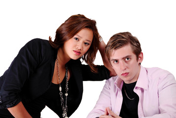 Attractive couple with worry expression