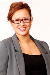 Smiling asian businesswoman, vertical portrait