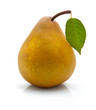 Yellow pear with green leaf isolated