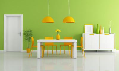 colored modern dining room