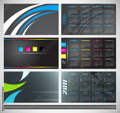 Vector abstract pocket calendar, design template for 2011