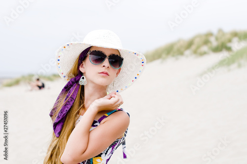 Model girl on the beach