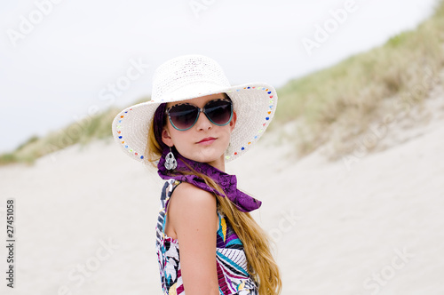 Model girl on the beach