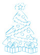 Illustration sapin de Noël bleu flashy