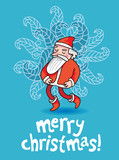 christmas card in blue color