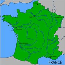 Mapa głównych rzek Francji