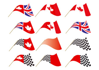 Union Jack, Canadian Maple Chequered Flag Vector