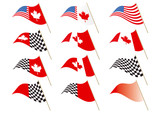 Stars and Stripes, Canadian and Chequered Flag Vector