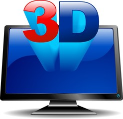 3D Schermo PC e TV-3D TV and Computer Monitor-Vector