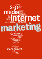 Internet marketing text cloud with 3D