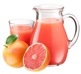 Grapefruit juice and fruits.