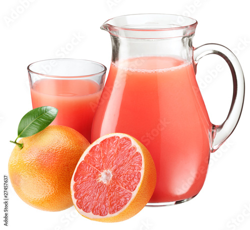 Grapefruit juice and fruits.