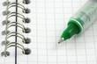 stylo à bille sur carnet à spirale
