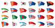 Moving flags set - Asia. 24 Vector flags.