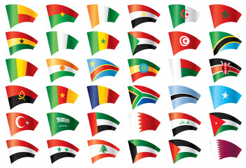 Moving flags set - Africa & Middle East. 36 Vector flags.