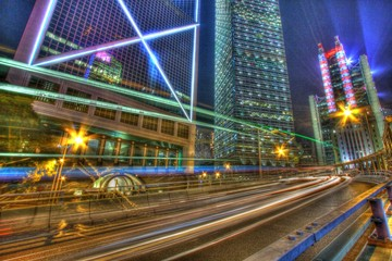 Traffic through downtown in Hong Kong in HDR