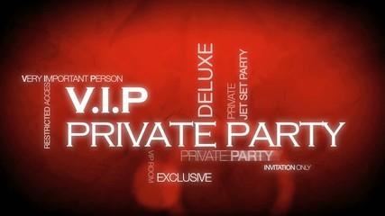 VIP private party tag cloud animation
