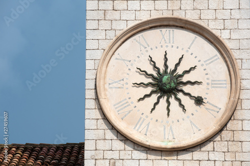 Sun clock face on the old clock tower, Dubrovnik, Croatia