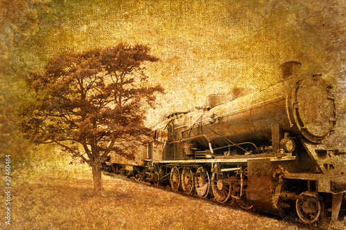 abstract vintage photo of steam train