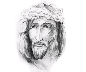 Sketch of tattoo art, Jesus Christ