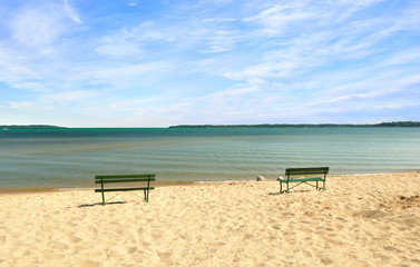 lake Michigan empty beach with benches