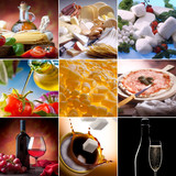 Food collage. Different kinds of italian food. - 27461691