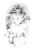 Sketch of tattoo art, monster,genius poster