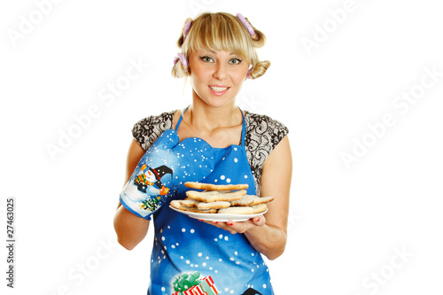 Young woman prepared cookies for Xmas