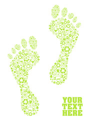 A colorful green eco footprint Illustration