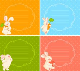 Vector set of cartoon little toy bunny